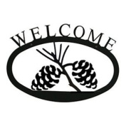 Village Wrought Iron WEL-89-S Pinecone Welcome Sign Small - Black