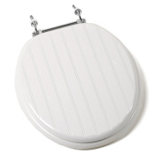 Jones Stephen C1B4R4-00CH Deluxe Molded Round Wood Toilet Seat with Chrome Hinges- White Bead Board - Wainscot