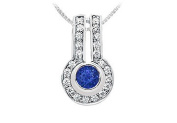 FineJewelryVault UBPD557W14DS-101 Sapphire and Diamond Pendant : 14K White Gold - 1.25 CT TGW