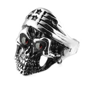 AAB Style RSRN-202 Stainless Steel Skull Ring with Stars Crown and Red Eyes
