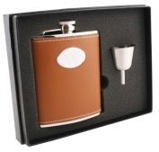 Visol VSET16-1118 Bobcat Light Brown Leather 6oz Flask Gift Set