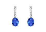 FineJewelryVault UBER911DSW-101 Diamond and Sapphire Earrings : 14K White Gold - 1.25 CT TGW