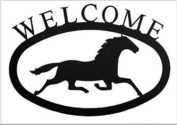 Village Wrought Iron WEL-17-L Large Running Horse Welcome Sign