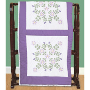 Jack Dempsey 732 139 Stamped White Quilt Blocks 46cm . x 46cm . 6-Pkg-Starflowers