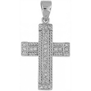 Doma Jewellery DJS03487 Sterling Silver (Rhodium Plated) Cross Pendant with CZ - 30mm Height and Extension Leather Necklace