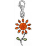 Doma Jewellery DJS01466 Sterling Silver and Crystal Charm - Flower