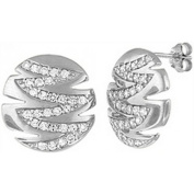 Doma Jewellery DJS02074 Sterling Silver (Rhodium Plated) Earrings with CZ - 17mm Diameter