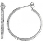 Doma Jewellery DJS02399 Sterling Silver (Rhodium Plated) Hoop Earrings with CZ - 4mm Wide