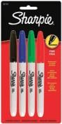 Sanford 450252 Sharpie Fine Point Permanent Markers 4-Pkg-Red Blue Black Green
