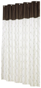 Carnation Home Fashions Diamond Patterned Embroidered Shower Curtain, 180cm by 180cm , Ivory and Brown