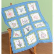 Jack Dempsey 487667 Themed Stamped White Quilt Blocks 23cm . x 23cm . 12-Pkg-Flowers
