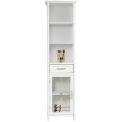 Napoleon Linen Tower with One Door and Three Open Shelves, White