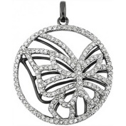 Doma Jewellery DJS03025 Sterling Silver (Rhodium Plated) Pendant with CZ - 34mm Height