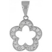 Doma Jewellery DJS03106 Sterling Silver (Rhodium Plated) Pendant with CZ - 21mm Height