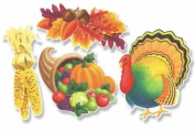 Beistle - 99621 - Pkgd Thanksgiving Cutouts- Pack of 12