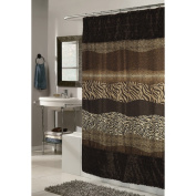 "Carnation Home Fashions ""Animal Instincts-Felina"" Faux Fur Trimmed Shower Curtain, Packed with a PEVA Shower Liner, 180cm by 180cm"
