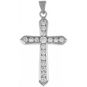 Doma Jewellery DJS03455 Sterling Silver (Rhodium Plated) Cross Pendant with CZ and Extension Leather Necklace