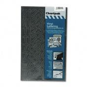 Chartpak 01130 Press-On Vinyl Numbers- Self Adhesive- Black- 1 sheet with 44 numbers
