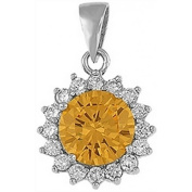 Doma Jewellery DJS03105 Sterling Silver (Rhodium Plated) Pendant with CZ - 14mm Diameter