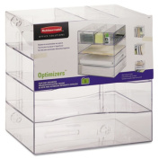 Rubbermaid 94600ROS Optimizers Four-Way Organiser with Drawers Plastic 13 .25 x 13 .25 x 10 Clear