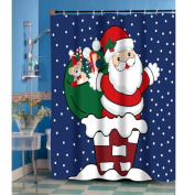 """Carnation Home Fashions """"Up on The Rooftop"""" Fabric Shower Curtain"""