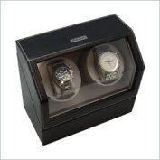 Heiden Battery Powered Dual Watch Winder- Black Leather