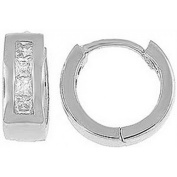 Doma Jewellery DJS02358 Sterling Silver (Rhodium Plated) Hoop Earring with CZ - 13mm in Diameter x 5mm Wide