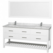 Wyhdham Collection WCOM211172WHCW Natalie White with White Carrera Marble Top White rectangle undermount sinks