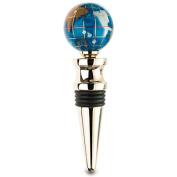 Alexander Kalifano WBS30G-MB Gemstone Globe Gold Coloured Bottle Stopper - Marine Blue Ocean
