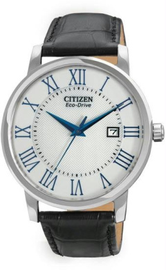 Citizen BM6758-06A Mens Eco-Drive Stainless Steel Case Leather Bracelet Silver Dial Date Display