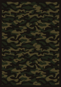 Joy Carpets 1526B-04 Funky Camo Dark Army 3 ft.10 in. x 5 ft.4 in. 100 Pct. STAINMASTER Nylon Machine Tufted- Cut Pile Whimsy Rug