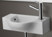 ALFI brand AB105 Small Wall Mounted Ceramic Bathroom Sink Basin - White