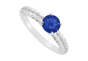FineJewelryVault UBJS3015AW14DS-101 Sapphire and Diamond Engagement Ring : 14K White Gold - 0.75 CT TGW - Size 7