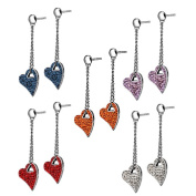 AAB Style ESS-143 Stainless Steel Drop Down Heart Earring with Foiled CZ Stones
