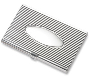 Aeropen International CC-91S Silver Ribbed Oval Centre Card Case