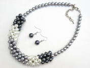 Alur Jewelry 18657GY 17 in. Pearl Cluster Necklace and Earring set in Gray