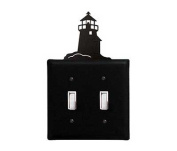 Village Wrought Iron ESS-10 Lighthouse Switch Cover Double - Black
