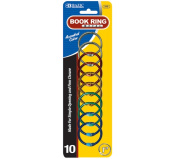 Bazic 212-24 2.5cm . Assorted Colour Metal Book Rings- Pack of 24