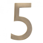 """Architectural Mailboxes 3582AB-5 Brass 4-Inch Floating House Number, Antique Brass """"5"""""""