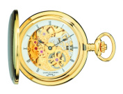 Charles-Hubert Paris 3906-G Brushed Finish Gold-Plated Stainless Steel Hunter Case Mechanical Pocket Watch