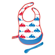 b.box Travel Bib & Spoon that Neatly Rolls Up and is Easy Clean