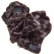 BearHands YX1000BRN Youth Large Faux Fur Mittens - Brown