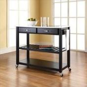 Modern Marketing KF30052BK Stainless Steel Top Kitchen Cart-Island