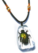 Ed Speldy East PSB1103 Real Bug Necklace-Green Chafer