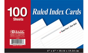 Bazic 557- 24 100 Ct. 10cm . x 15cm . Ruled White Index Card- Pack of 24