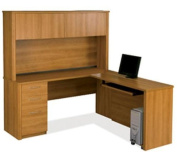 Bestar 60874-1668 Embassy L-shaped workstation kit kit including assembled pedestal in Cappuccino Cherry finish