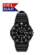 Del Mar 50244 Mens Dive 200 Black Nautical Dial PU Watch