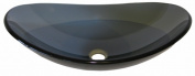 Novatto TIS-324G BIGIO Clear Grey Slipper Glass Vessel Sink 21.5 Inches Wide Black