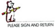centre ENTERPRISES CE-E618 STAMP PLEASE SIGN AND RETURN BEAR