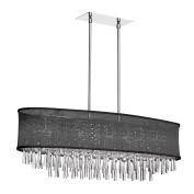 Dainolite JOS368-PC-115 8 Light Crystal Oval Chandelier with Oval Black Organza Shade